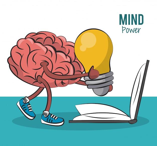Cérebro segurando a grande idéia e livro aberto ilustração vetorial design gráfico
