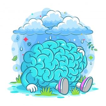 Cérebro triste sentado sob as nuvens de chuva da ilustração