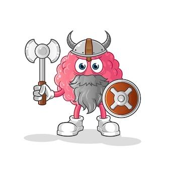 Cérebro viking com uma ilustração de machado. personagem