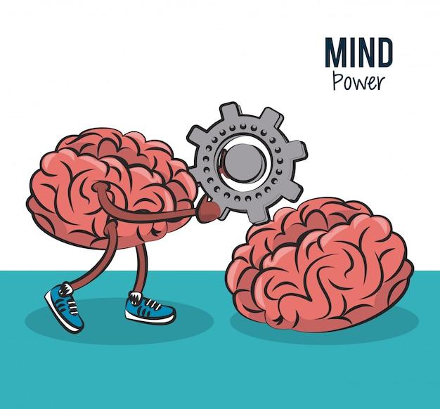 Cérebros humanos com design gráfico de ilustração vetorial de engrenagem