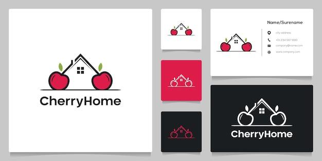 Cereja casa imobiliária conceitos simples com cartão de visita