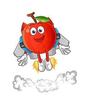 Cereja com ilustração do mascote do jetpack