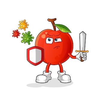 Cereja contra desenhos de vírus. mascote dos desenhos animados