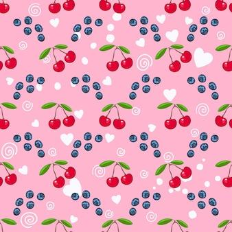 Cereja fresca e mirtilo, coração branco no padrão sem emenda de vetor de fundo rosa. doce baga para embalagem ou têxtil.