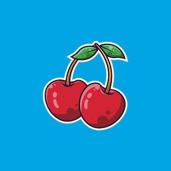 Cereja fruta design simples e cereja fruta ilustração