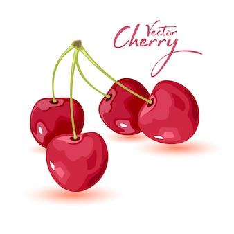 Cereja madura com folhas. duas doces frutas vermelhas. ícone dos desenhos animados isolado no fundo branco.