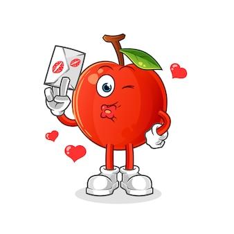 Cereja segurar ilustração de carta de amor. personagem