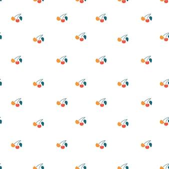 Cereja sem costura padrão de fundo textura infinita de frutas de baga simples ilustração em vetor plana