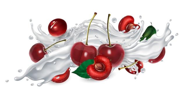Cerejas em um respingo de iogurte ou leite.