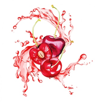 Cerejas vermelhas e metade da cereja no respingo de suco vermelho