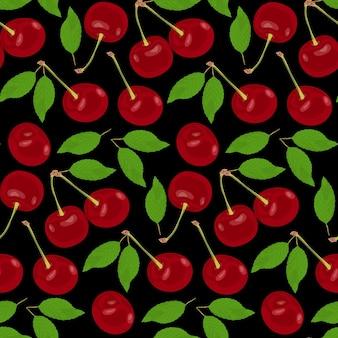 Cerejas vermelhas maduras estão espalhadas em um fundo preto cerejas vermelhas com folhas verdes