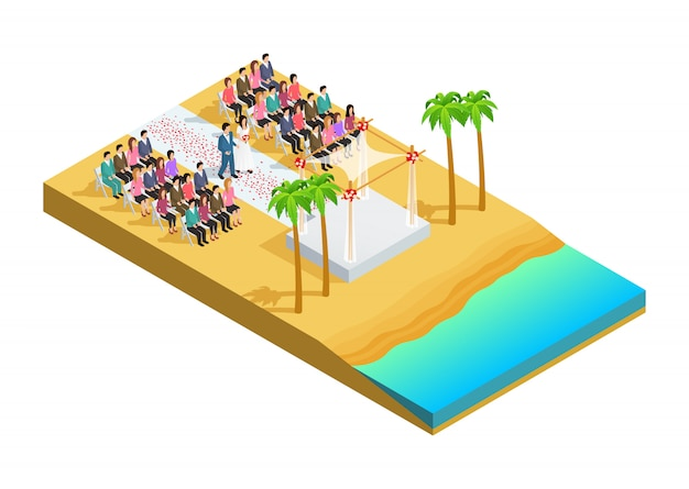 Cerimônia de casamento em uma composição isométrica do lado da praia