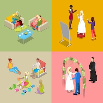Cerimônia de casamento isométrica com a noiva e o noivo.