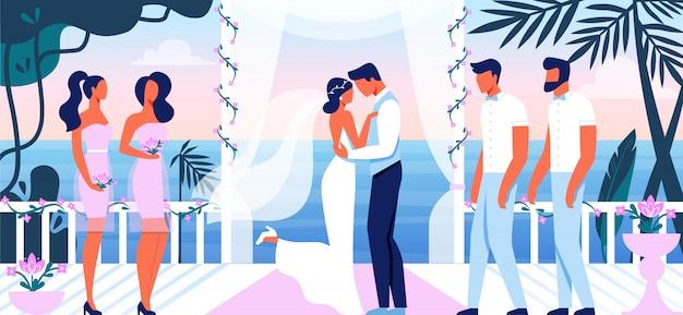 Cerimônia de casamento lindo terraço com vista para o mar