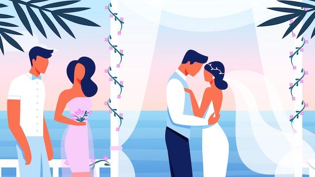 Cerimônia de casamento no belo terraço com vista para o mar