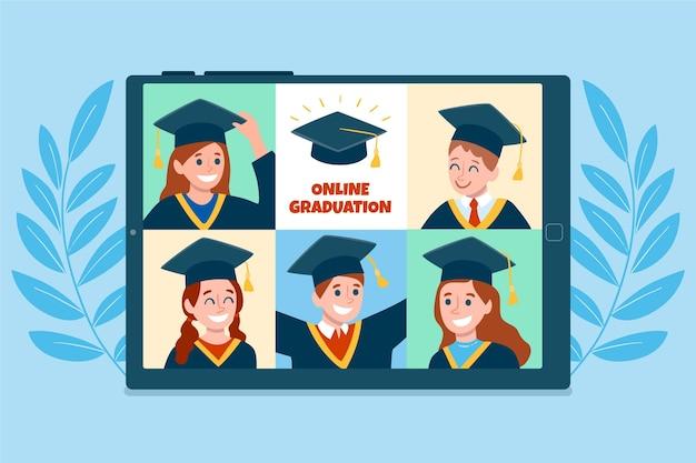 Cerimônia de formatura na plataforma online ilustrada