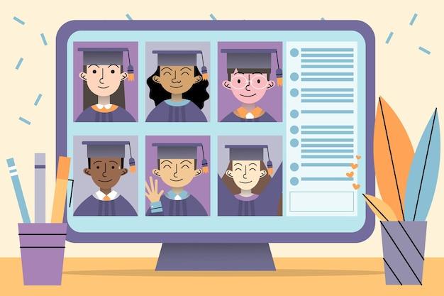 Cerimônia de formatura virtual com alunos e computador