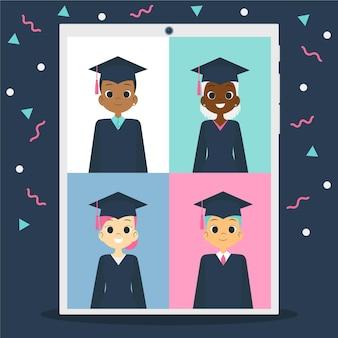 Cerimônia de formatura virtual com alunos e confetes