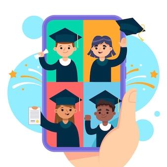 Cerimônia de formatura virtual com alunos em túnicas