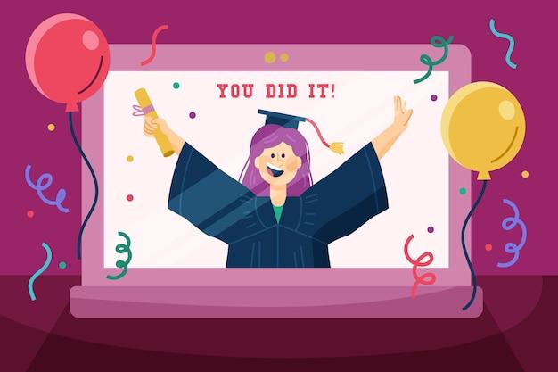 Cerimônia de formatura virtual com balões e confetes