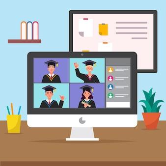 Cerimônia de formatura virtual com computador