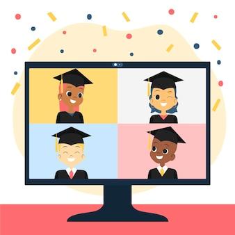 Cerimônia de formatura virtual com confete