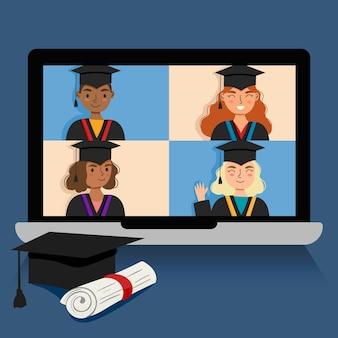 Cerimônia de formatura virtual com laptop