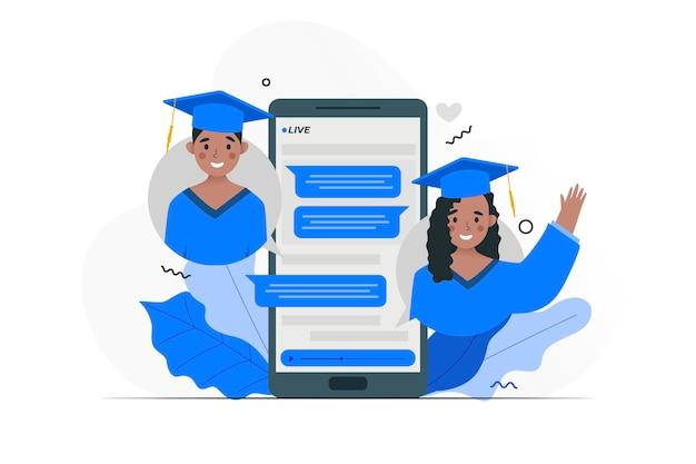 Cerimônia de formatura virtual com smartphone