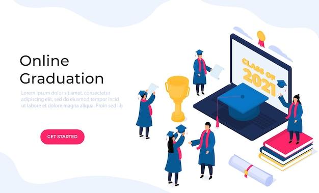 Cerimônia de formatura virtual online. minúsculos graduados em isométricos em aventais e mortarboards comemoram a conclusão dos estudos. classe de 2021.