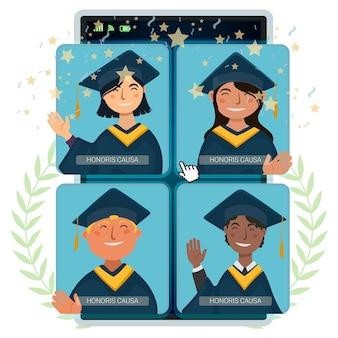Cerimônia de graduação virtual com acadêmicos