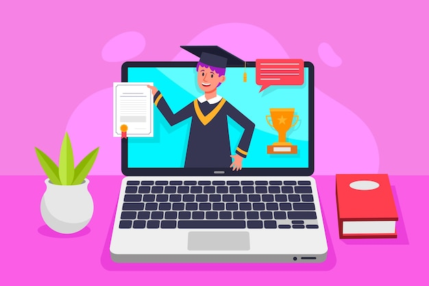 Cerimônia de graduação virtual com aluno