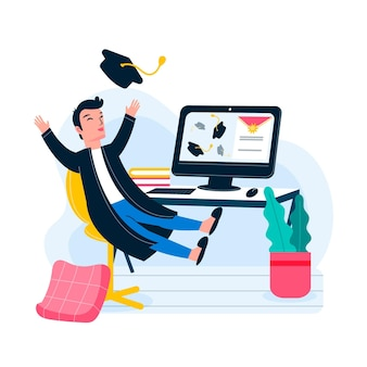 Cerimônia de graduação virtual com ex-alunos