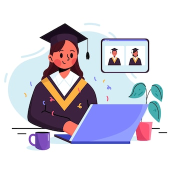 Cerimônia de graduação virtual com graduação universitária