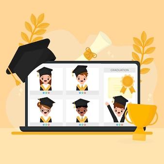 Cerimônia de graduação virtual ilustrada