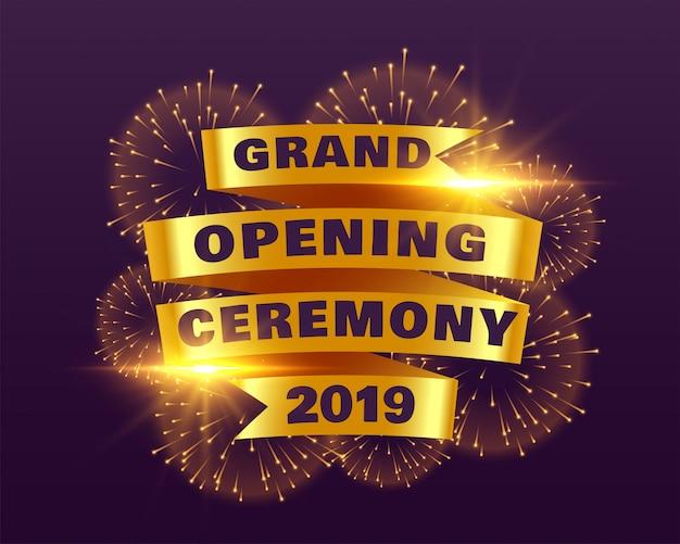 Cerimônia de inauguração 2019 com fita dourada e fogos de artifício