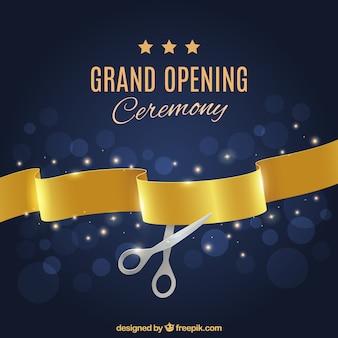 Cerimônia de inauguração com fita dourada