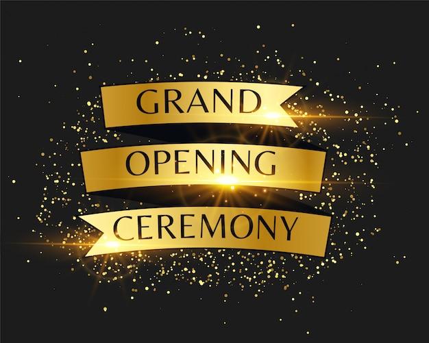 Cerimônia de inauguração convite dourado