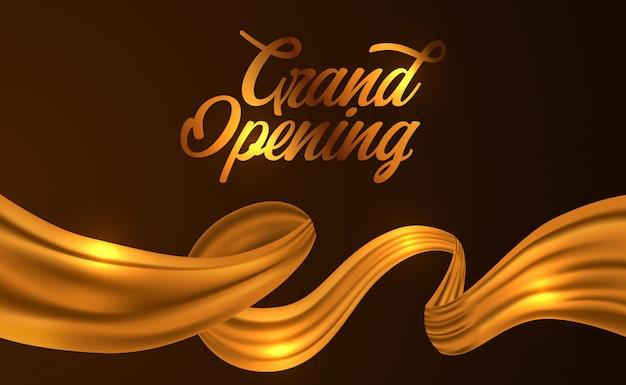 Cerimônia de inauguração da fita de seda dourada