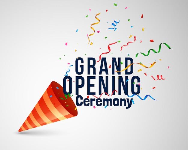 Cerimônia de inauguração letras com confete e boné