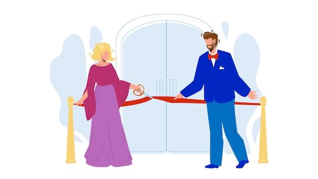 Cerimônia de inauguração, pessoas cortam o vetor de fita. homem e mulher empresários cortando a fita vermelha com uma tesoura juntos no evento cerimonial de inauguração. personagens plana ilustração dos desenhos animados