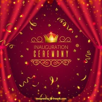 Cerimônia de inauguração realista com confetes
