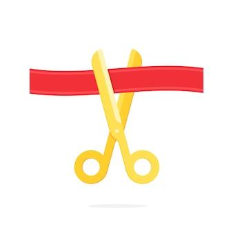 Cerimônia de inauguração, tesoura cuting red ribbon