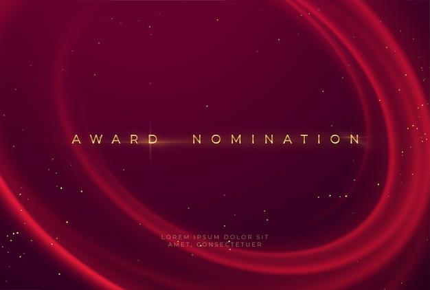 Cerimônia de indicação ao prêmio com luxuoso vermelho ondulado