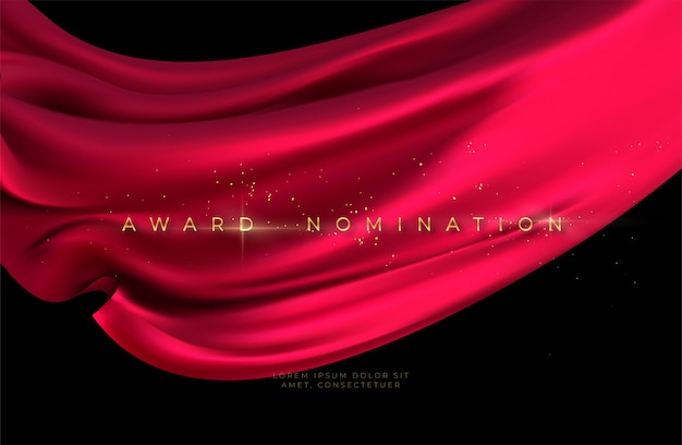 Cerimônia de indicação ao prêmio com seda voadora vermelha luxuosa ondulada