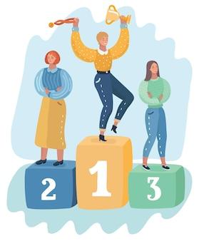 Cerimônia de premiação de três mulheres no pedestal