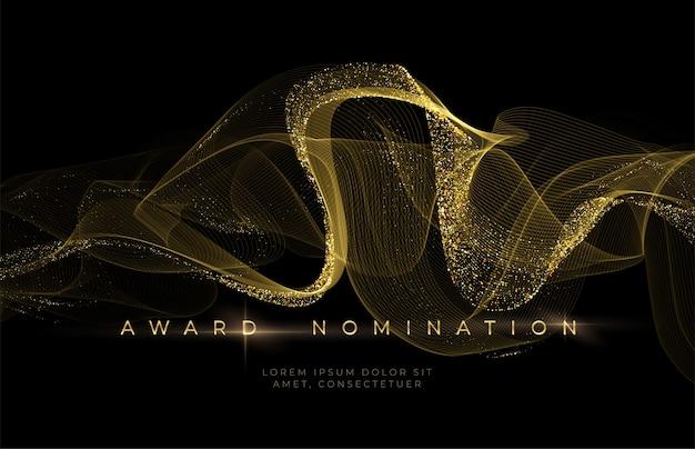 Cerimônia de premiação fundo preto luxuoso com ondas de glitter dourado. histórico de indicação ao prêmio.