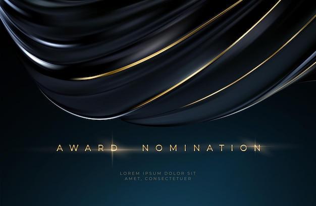 Cerimônia de premiação luxuoso fundo ondulado preto com texto dourado. fundo de luxo de seda preta. ilustração vetorial