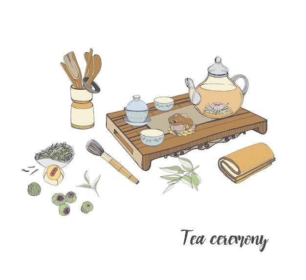 Cerimônia do chá com vários elementos tradicionais