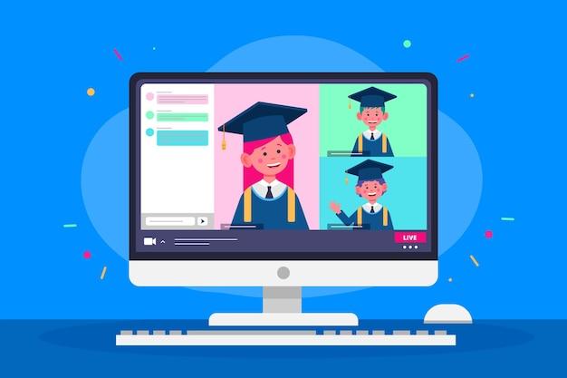 Cerimônia virtual de graduação com os alunos