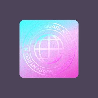 Certificação de produto de design de adesivo isolado de rótulo de holograma.